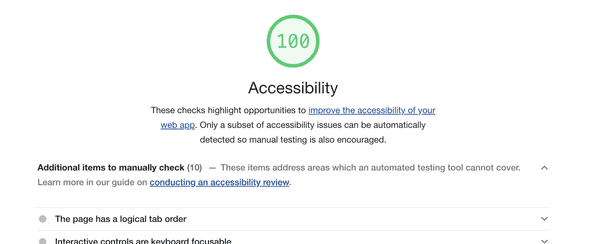 A screenshot showing a 100/100 accessibility audit lighthoues score