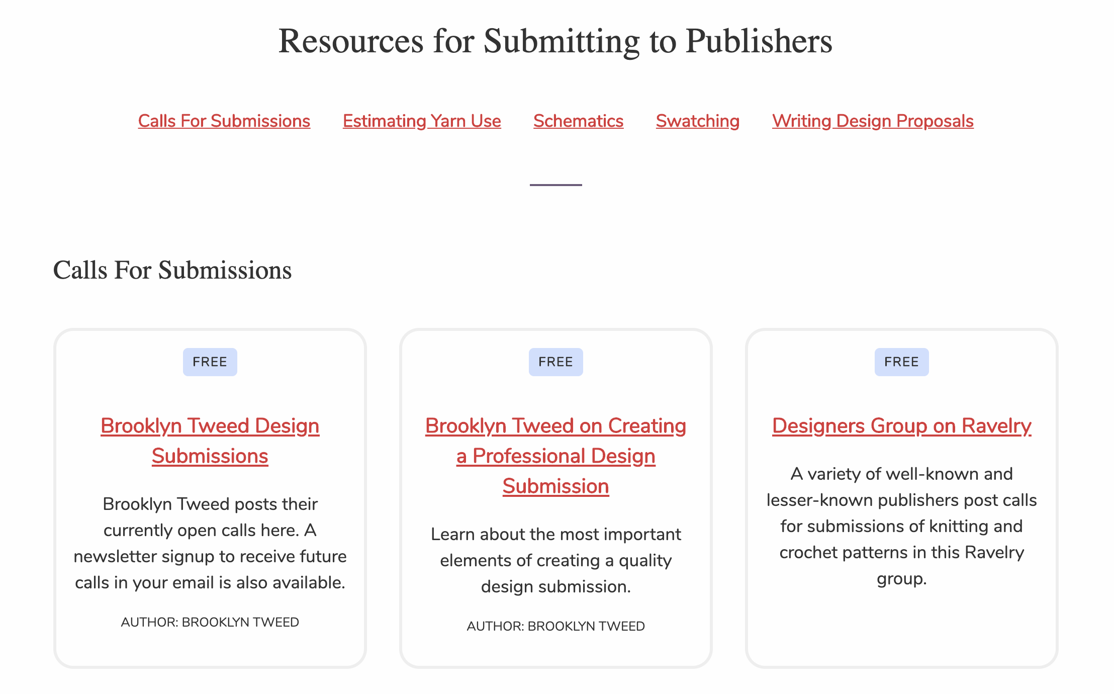 The Submitting to Publishers resources page with the following topics: Calls For Submissions, Estimating Yarn Use, Schematics, Swatching, Writing Design Proposals. There is a grid of resource cards below the topics list.